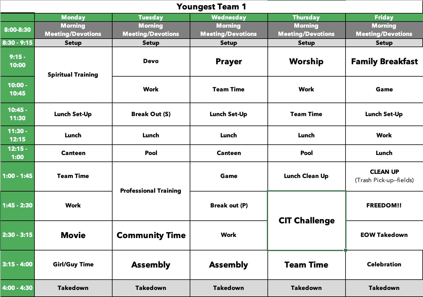 CIT Sample Schedule (1)